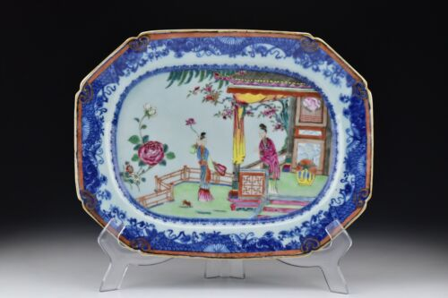 Rare Chinese Export Famille Rose Porcelain Platter with Figures 18th Century