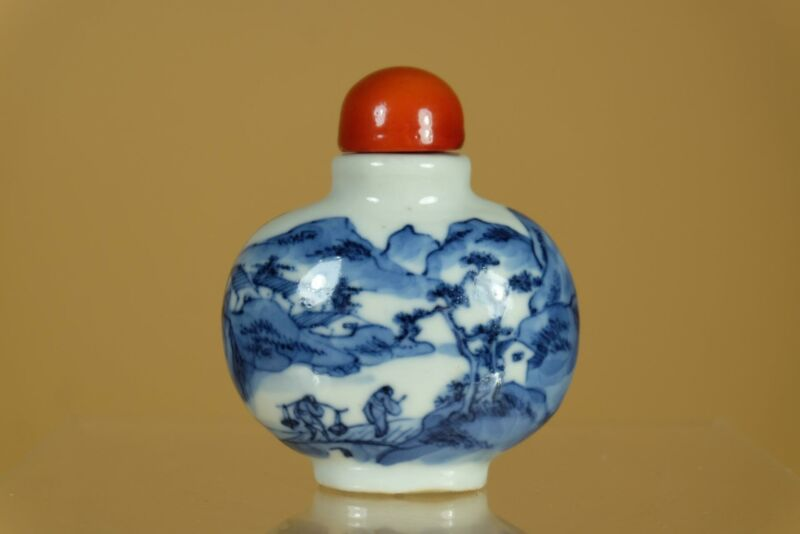 ⭕️Antique Chinese Blue White Landscape Porcelain Snuff Bottle,With Peking Top.