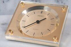 Seiko Quartz Vintage Desk Clock, Seiko Gold Tone & Lucite Angled Desk Clock