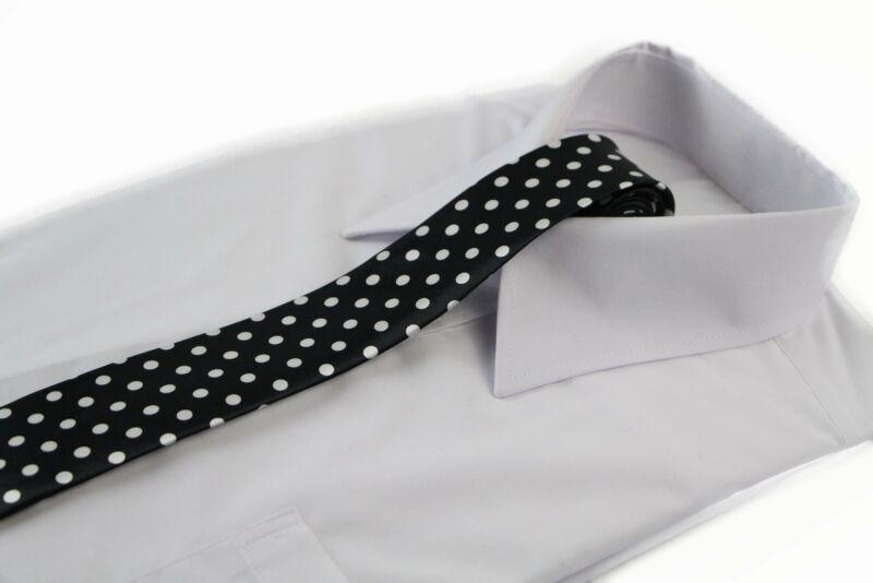 Mens Black & White Polka Dot 5cm Skinny Neck Tie