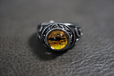 Dragon Ring Jewelry (Vintage Yellow Dragon Eyeball Silver Rock Ring for Haley Motorcycle Rider)
