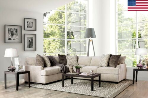 Ivory Chenille Contemporary Sectional Sofa Pillows Couch Plush Cushion Seating