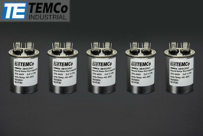 Temco 5 Mfd Uf Run Capacitor 370440 Vac Volts 5 Lot Ac Motor Hvac 5 Uf