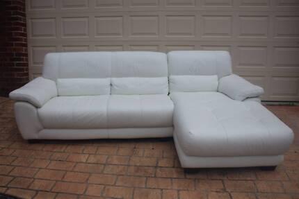 Leather Sofa Lounge White