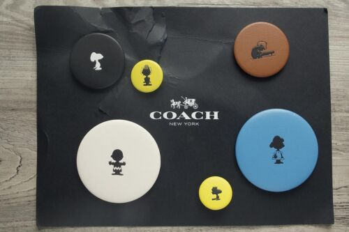 NWT COACH X PEANUTS Limited Edition 6 Leather PIN BUTTON Set Collection 63165