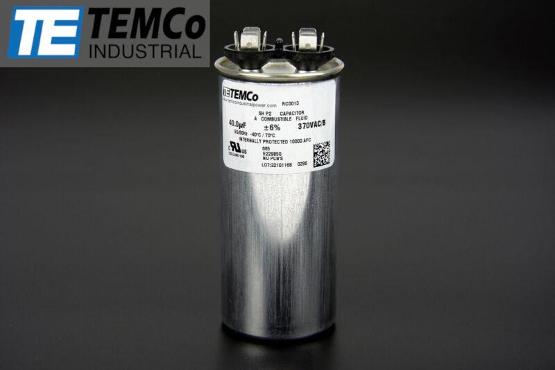 TEMCo 40 uf/MFD 370 VAC volts Round Run Capacitor 50/60 Hz -Lot-1