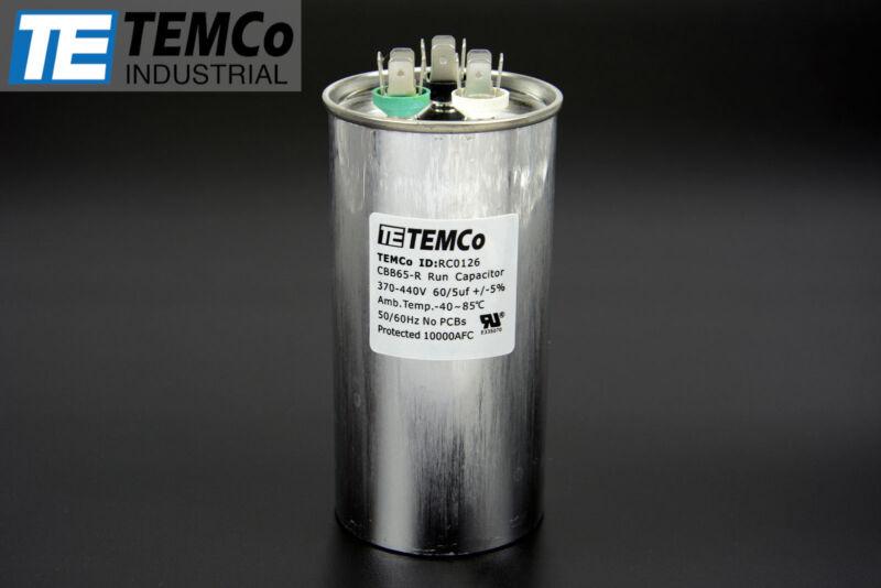 TEMCo 60/5 MFD uF Dual Run Capacitor 370 440 vac Volts AC Motor HVAC 60+5