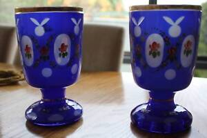 VINTAGE PAIR OF MULTI-COLOURFUL ETCHED GLASS VASES
