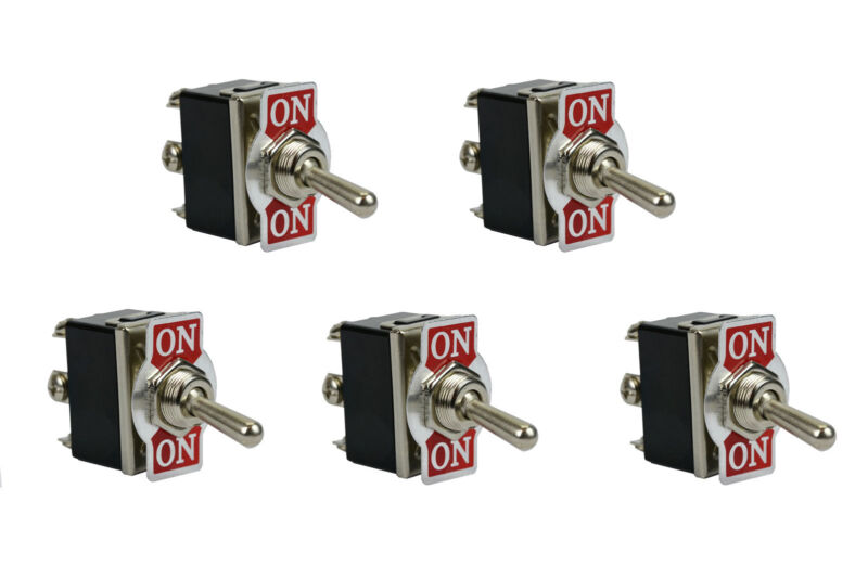 5 pc TEMCo Heavy Duty 20A 125V ON-ON DPDT 6 Terminal Toggle Switch