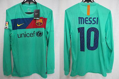 da2d06a146f 2010-2011 FC Barcelona Barca Jersey Shirt Camiseta Away Nike Messi #10 L/S S  NWT
