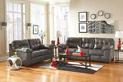 Modern Living Room Furniture GRAY Bonded Leather Sofa Couch & Loveseat Set IG1J