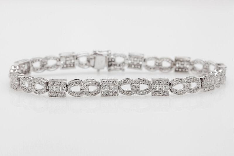 Designer $7000 3ct Vs G Diamond 18k White Gold Tennis Bracelet