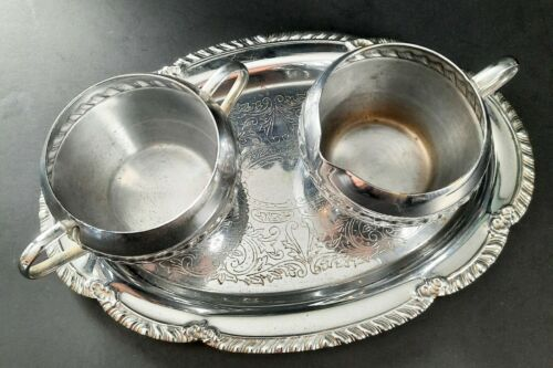 VINTAGE Irvinware Metal Tea Coffee Sugar Creamer Serving Tray Set - Made in USA