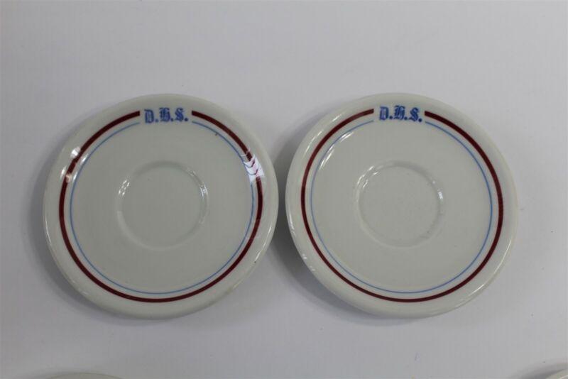 2 Vintage D.H.S. Dubuque Senior High School Saucer Dish Iowa Red Blue White EUC