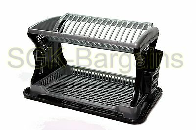 Black / Grey Plastic 2 Layer Dish Drainer Rack Utensil Cutlery Draining Kitchen
