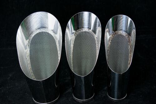 3 Pcs Set Japanese Stainless Bonsai Soil Scoop w / Mesh - Potting & Mixing Tool