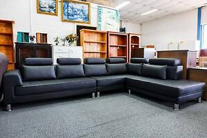New 6 Seat Corner + Chaise Black Vinyl Lounge Set WAS $2500 SALE Punchbowl Canterbury Area Preview