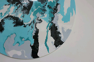 Mint round circle resin art painting mint aqua white black gray Ferntree Gully Knox Area Preview