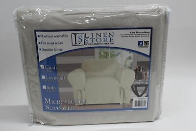 """NEW KASHI HOME Micro Suede Luxurious Furniture Slipcover Chair Beige 32"""" To 43"""""""