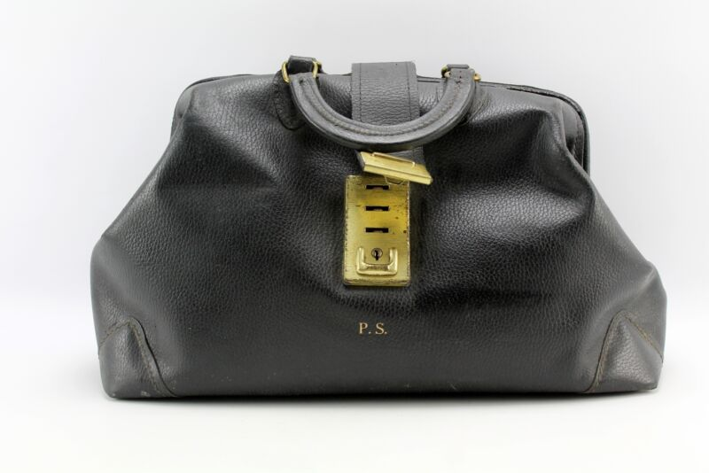Large Vintage Lockable Black Pebbled Leather Doctor Bag PCI