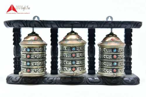 "5"" Tall 3 in1Wall Hanging Authentic Buddhist Mantra symbol Handmade Prayer wheel"