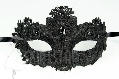 Venetian Mask Brocade Black Crystals Masquerade Crystals Costume Raven Ball Prom - Raven Masquerade Mask