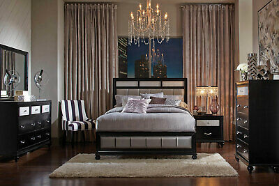 Transitional Black and Gray Bedroom Furniture - 5pc Size Queen Panel Bed Set L78