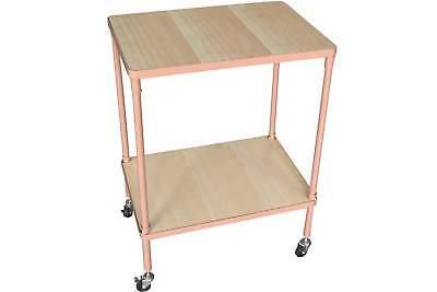 Rolltisch rosa mit 2 Holz Böden 65x50x35cm Metallgestell eckig Beistelltisch NEU ()