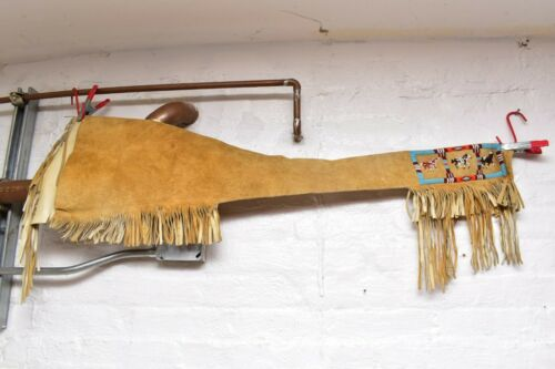 Vintage Native American Indian Crow Pictorial Beaded Rifle Scabbard Sling Case