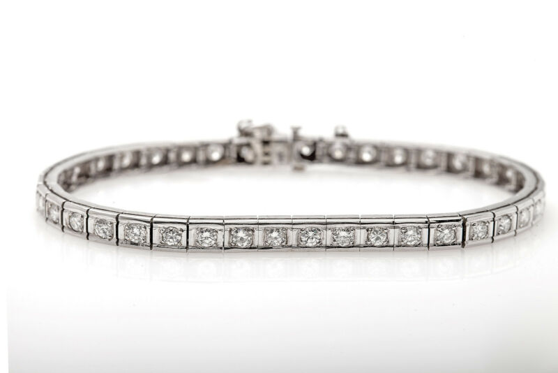 Antique Retro 1940s $8000 4ct Diamond 14k White Gold Tennis Bracelet