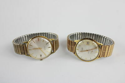 2 x Vintage Gents Gold Tone WRISTWATCHES Hand-Wind WORKING Inc Accurist 21 Jewel