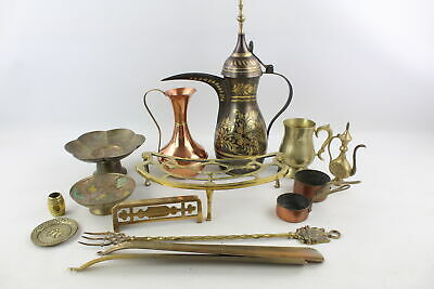 15 x Vintage Copper & BRASS Kitchenalia Inc. Dallah, Trivet, Tankard Etc (5393g)