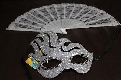 Set für Maskenball silberne Maske und Fächer aus Spitze Kostüm Fest - Kostüm Für Maskenball