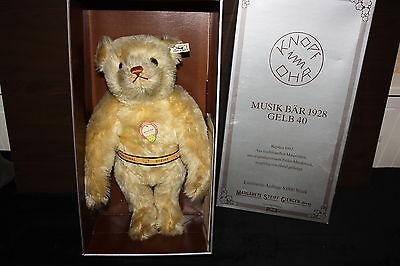 Steiff Musik Bär 1928 40 cm Replik Steiff 1992 mit Zertifikat in OVP