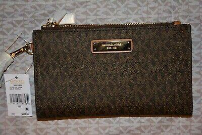 Michael Kors Signature Brown Double Zip Wristlet Adele Logo Purse Wallet