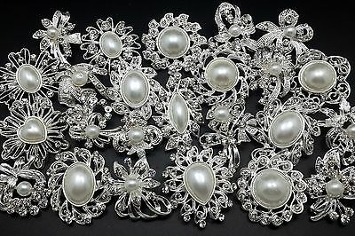 24pc/lot Mixed Sliver Pearl Rhinestone Crystal Brooches Pins DIY Wedding Bouquet