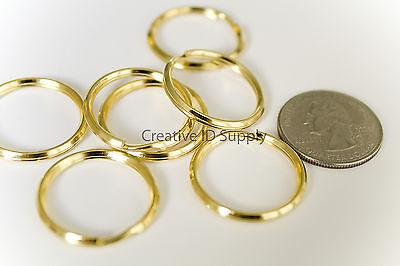 "NEW KEY RINGS Lot 10 ~ 24mm 1"" Split Ring - GOLD METAL"