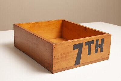 Vintage Wooden Office Desk Paper Holder Wood Organizer Old School Storage Tray