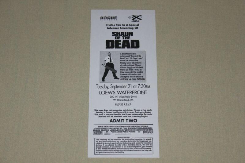 SHAUN OF THE DEAD -screening pass ticket Simon Pegg Nick Frost K Ashfield zombie