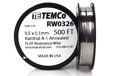 Temco Flat Ribbon Kanthal A1 Wire 0.5mm X 0.1mm 500 Ft Resistance A-1