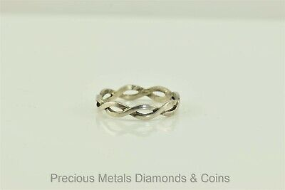 Sterling Silver 3mm Two Band Braided Twist Woven Band Ring 925 Sz: 7 (Two Woven Pull)