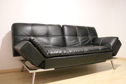 Luxury black  leather sofa bed