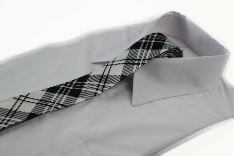 Mens Black & White Criss Cross 5cm Skinny Neck Tie