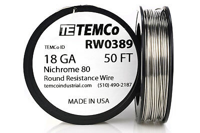 Temco Nichrome 80 Series Wire 18 Gauge 50 Ft Resistance Awg Ga