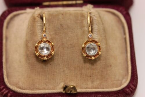 ORIGINAL OLD 18K GOLD TURKISH ROSE CUT DIAMOND SOLITAIRE STYLE AMAZING EARRING
