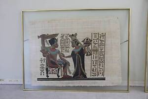 Fold framed Egyptian papyrus art Winthrop Melville Area Preview