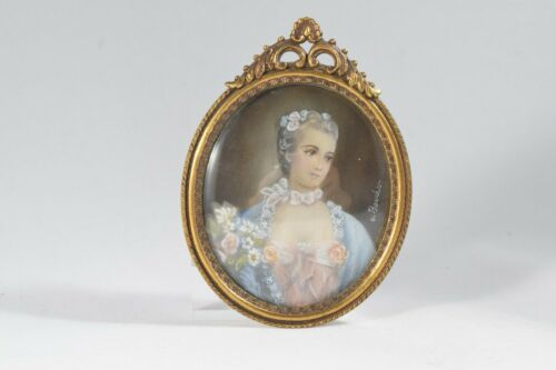 Vintage Hand Painted Artist Signed Portrait Beautiful Lady Miniature with Brass