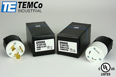 Temco Nema L5-30p Pair Plug 30a 125v Locking Ul Listed For Generator Rv Camper