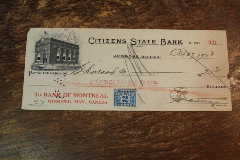 BANK CHECK CITIZENS STATE BANK AMBROSE , NORTH DAKOTA 1923 WINNIPEG