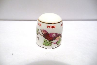 "THIMBLE SUTHERLAND CHINA & COLONIAL WILLIAMSBURG ""CAGE DE MON AMITIE"" W/BIRD"